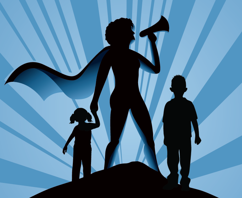mom holding a megaphone with children in silhouette