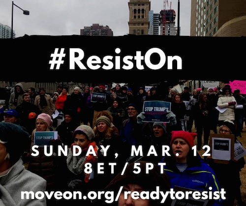 Join the Ready to Resist call Sunday, February 26 at 8 p.m. ET