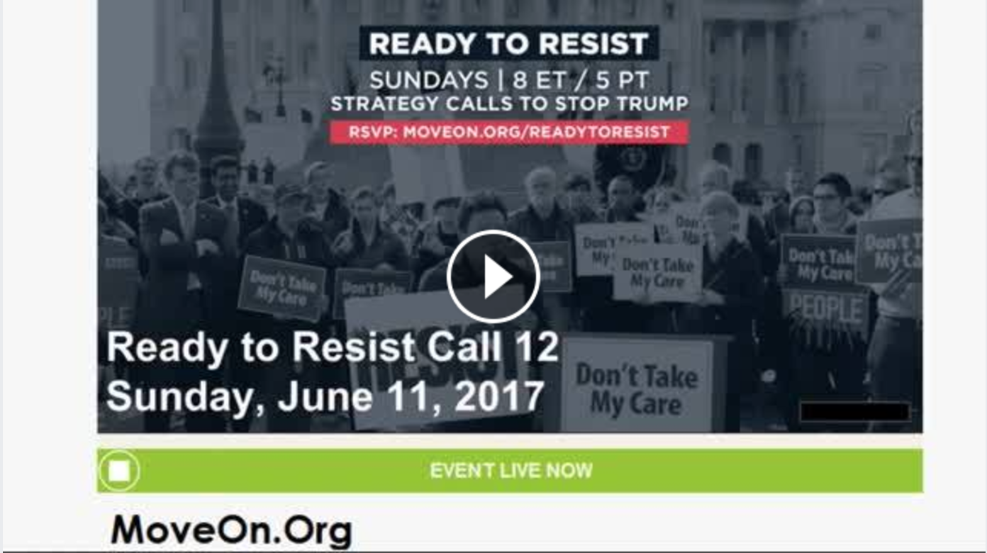 Watch the Ready to Resist call on FacebookLive!