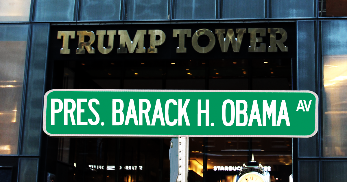 """Rename Fifth Avenue in front of Trump Tower: """"President Barack H. Obama Avenue"""""""