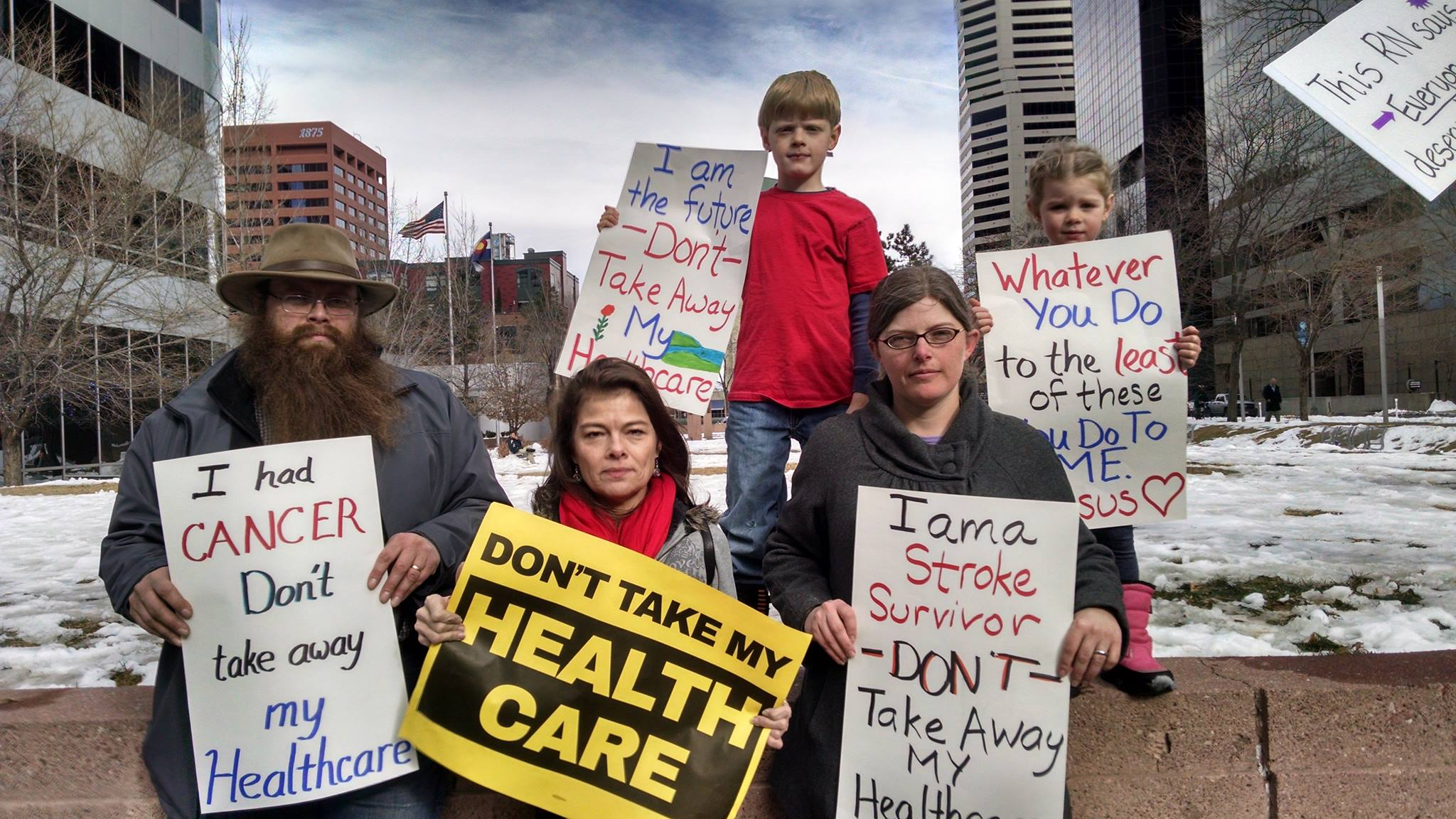 Protesters in Colorado appealing to Senator Cory Gardner: