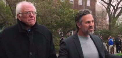 Bernie Sanders and Mark Ruffalo