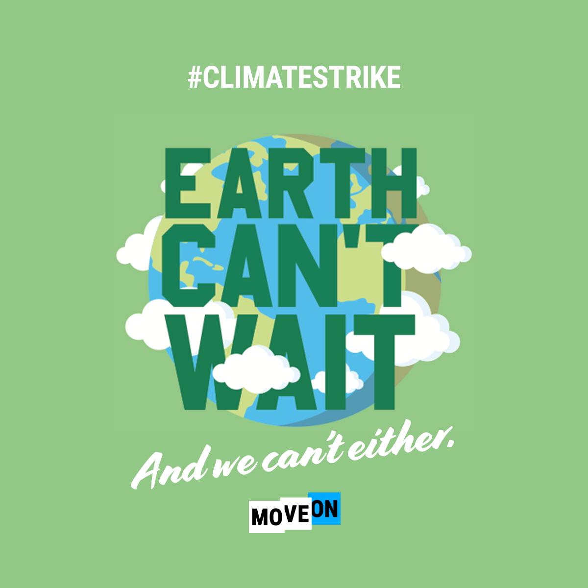 "Order your free ""Earth Can't Wait and We Can't Either"" sticker!"