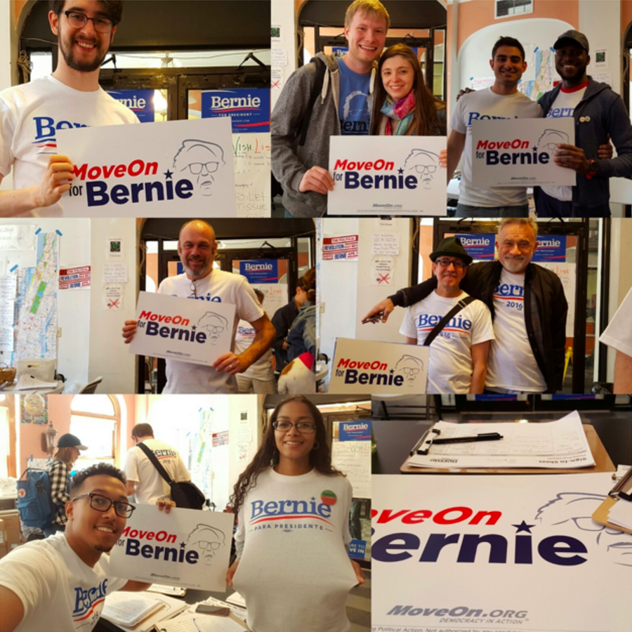 MoveOn members volunteering for Bernie