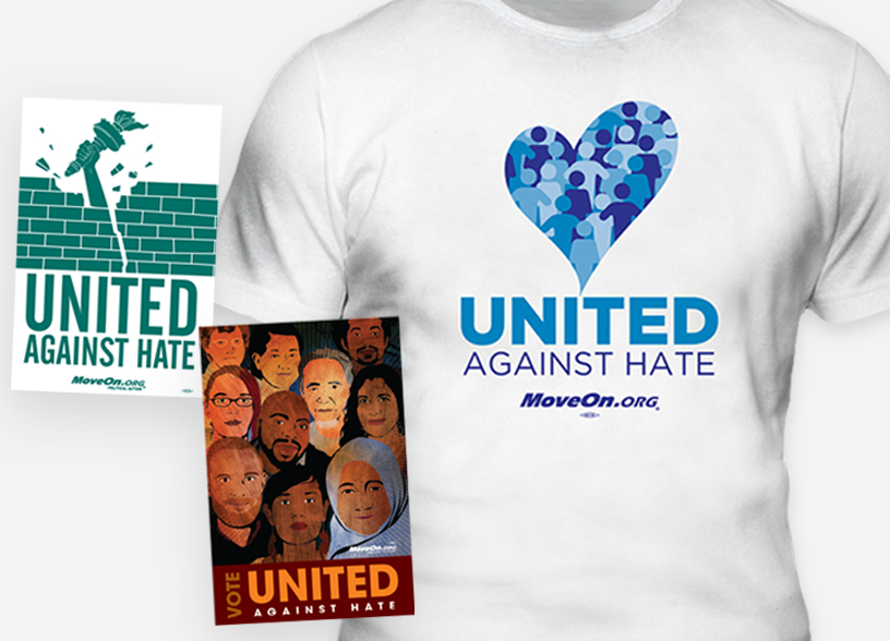 United Against Hate stickers and shirt