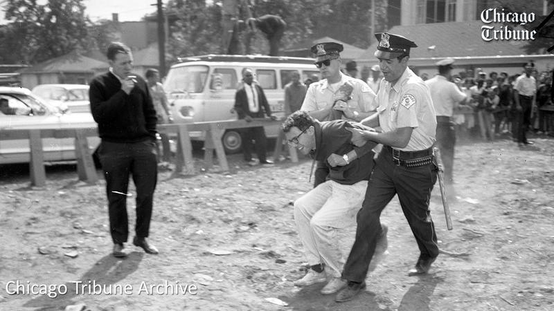 Chicago Tribute: Bernie sanders being arrest at anti-segregation protest in 1963.
