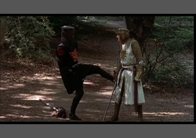 Stunt double used for John Cleese during Black Knight scene