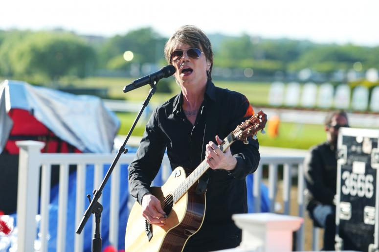 Jun 6, 2015; Elmont, NY, USA; John Rzeznik of The Goo Goo Dolls performs before the 2015 Belmont Stakes at Belmont Park.