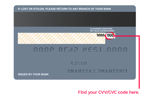 credit card cvv / cvc location