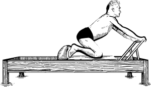 Illustration of Joseph Pilates exercising on Reformer