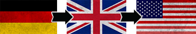 Three flags: British, German, U.S.