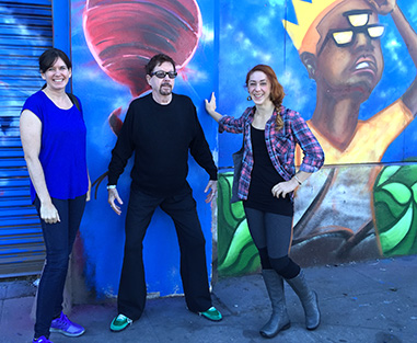 Tom and his instructors, Carolyn Morris and Jennifer Perry, in San Francisco.