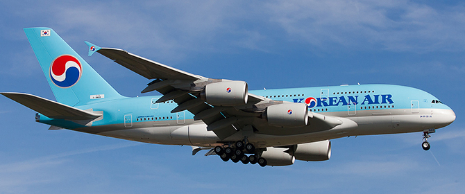 Korean Air Airbus A380 on Final Approach, seconds from landing.