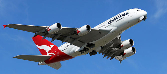 Qantas Flagship A380 on initial climb out.  Hiring DE Second Officers.