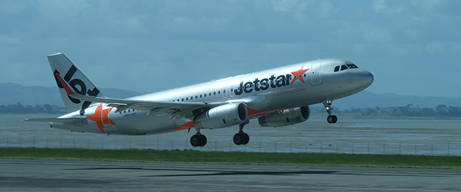 JetStar Airbus A320 on take off and initial climb out