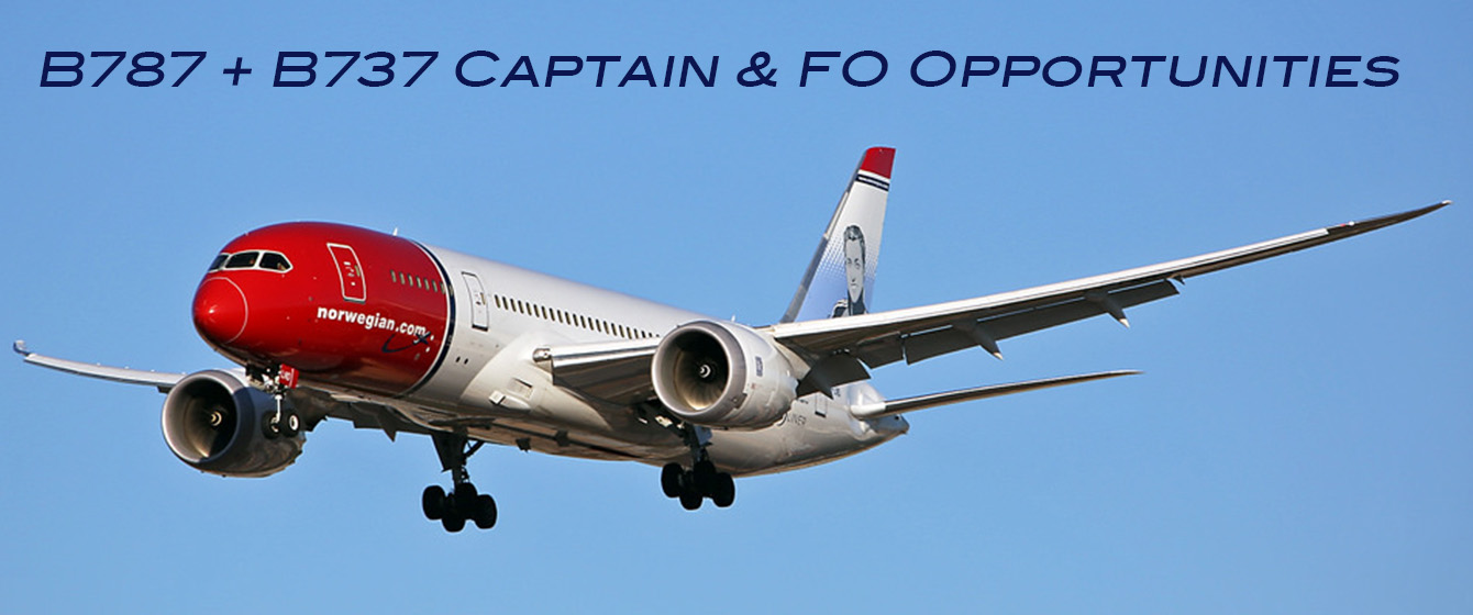 Norwegian Captain + First Officer Openings