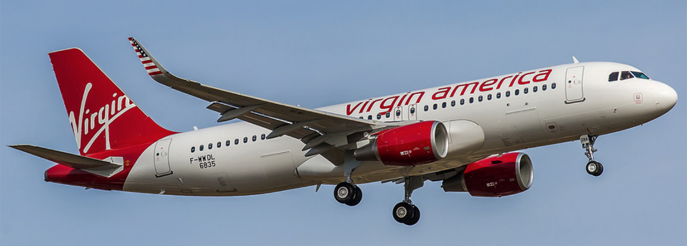 Virgin America Airbus A320 on Final Approach