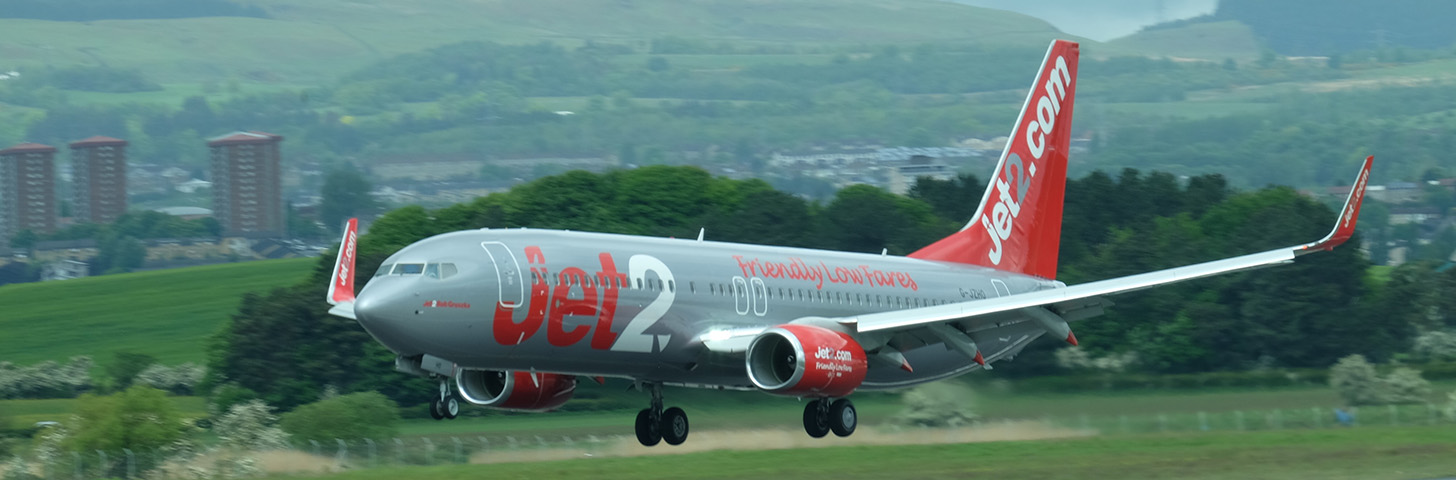 Jet2 Boeing B737-800NG about to touchdown on Runway 23.