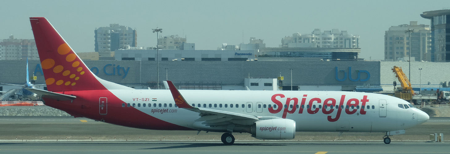 SpiceJet Boeing 737NG taxiing for departure.
