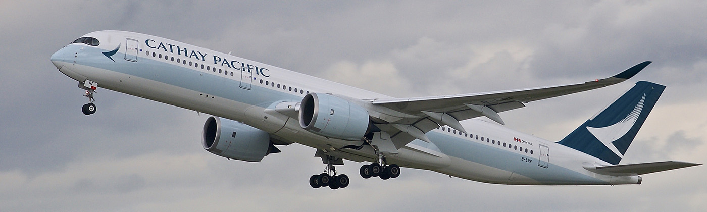 Cathay Pacific's new A350-900XWB on departure.