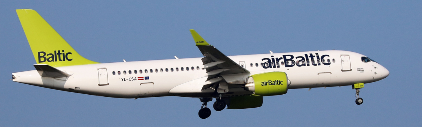 airBaltic C-Series on final approach