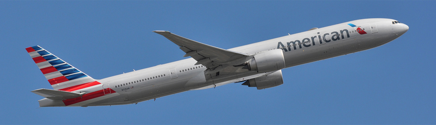 American Airlines new 777-300ER on departure.