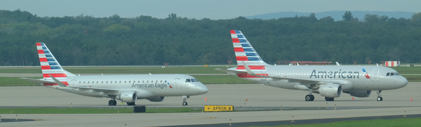 American Airlines A319 and American Eagle E175 awaiting next journey.