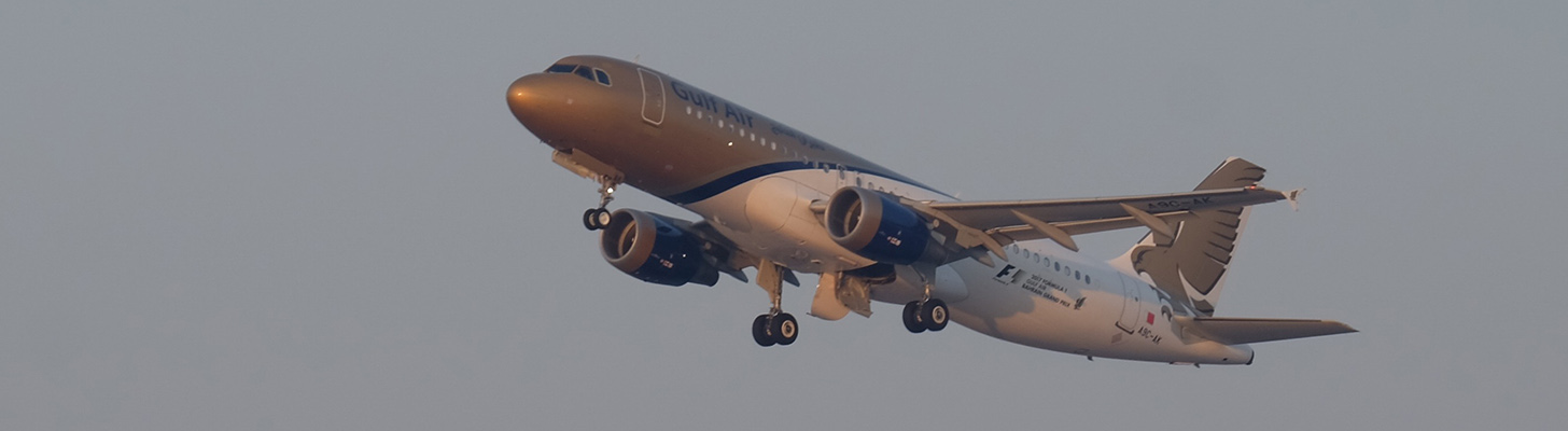 Gulf Air A320 on climbout of Bahrain International.