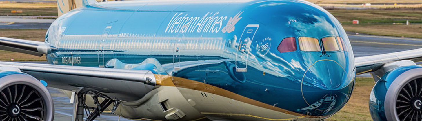 Vietnam Airlines 787 Dreamliner in the sunshine.