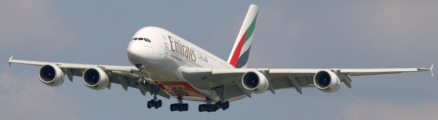 Emirates A380 on Final Approach