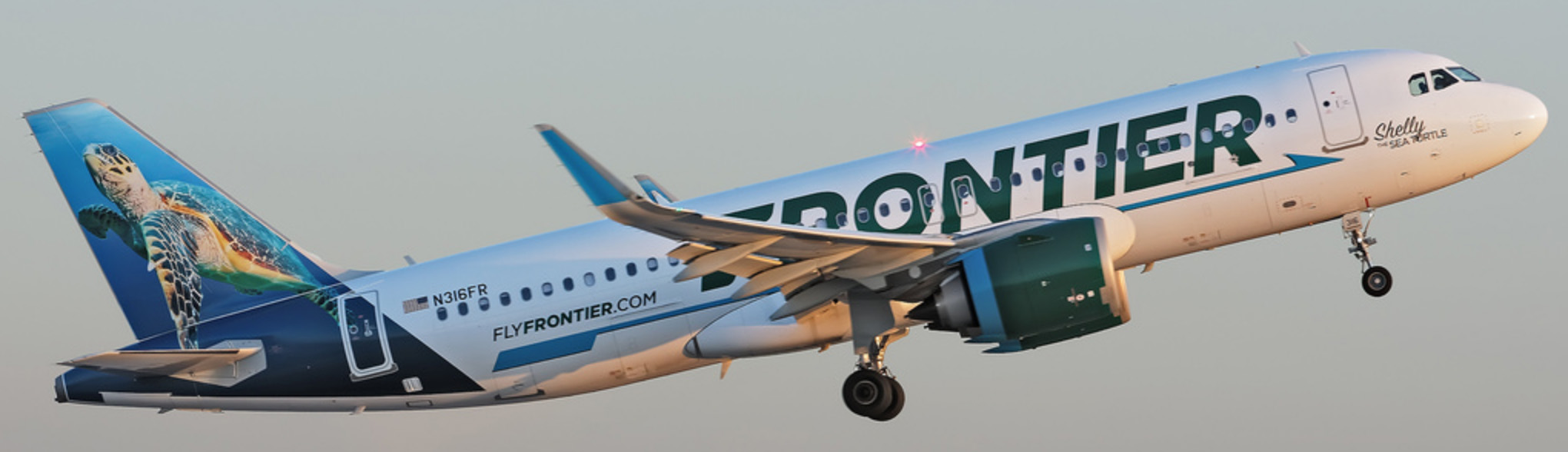 Frontier A320neo on initial climb out