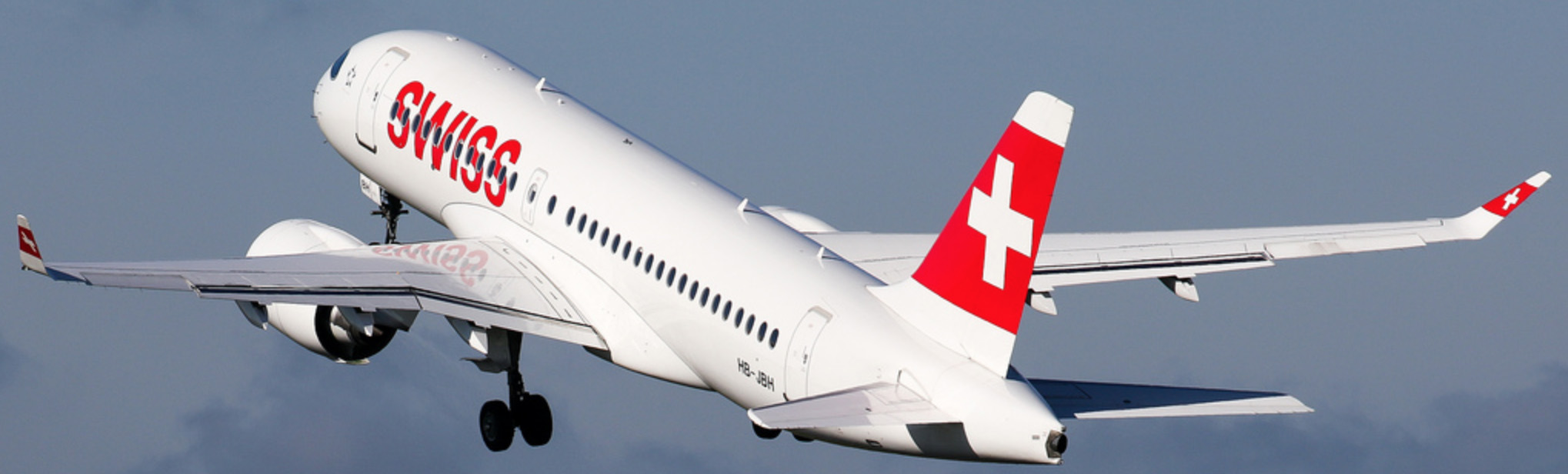 Swiss Airbus A220 on initial climb out