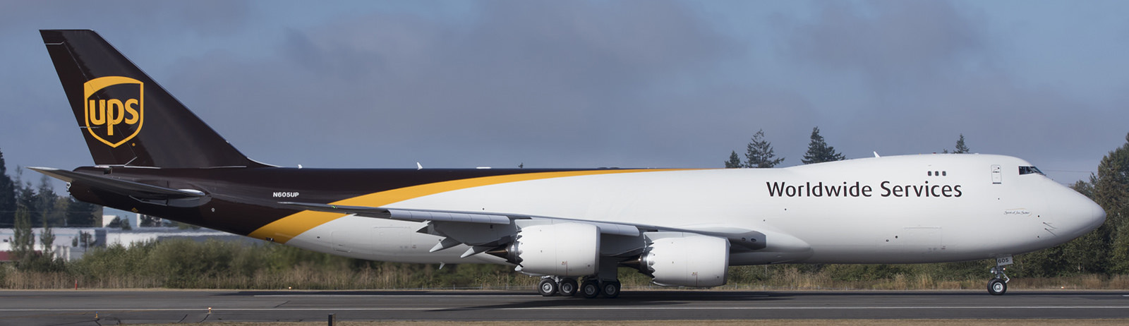 UPS Boeing 747-8F preparing for departure.