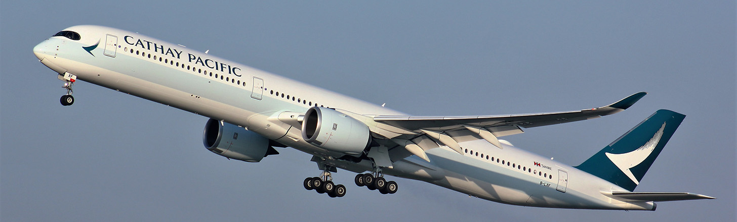 Cathay Pacific Airbus A350 on initial departure