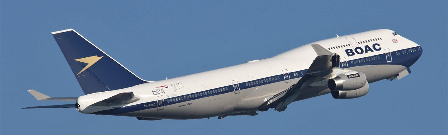 British Airways retro livery 747-400 on climb out.