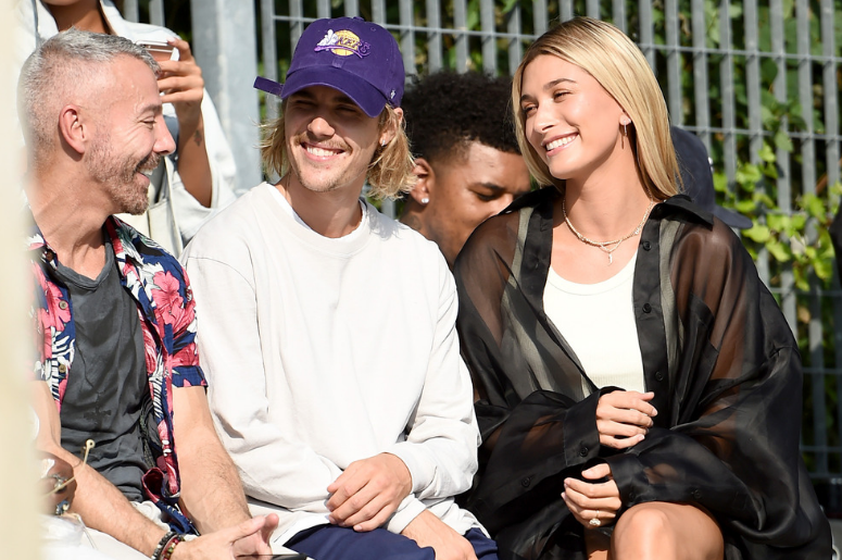 Justin Bieber and Hailey Baldwin attend the John Elliott front row during New York Fashion Week: