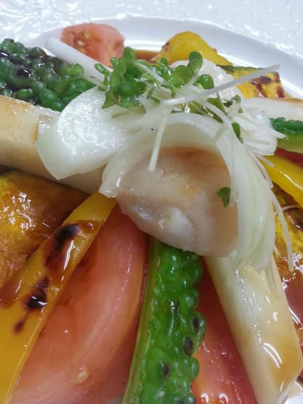 帆立と彩り野菜のはちみつソース