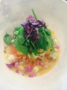 真鯛のスープ仕立て 日本のハーブと共に