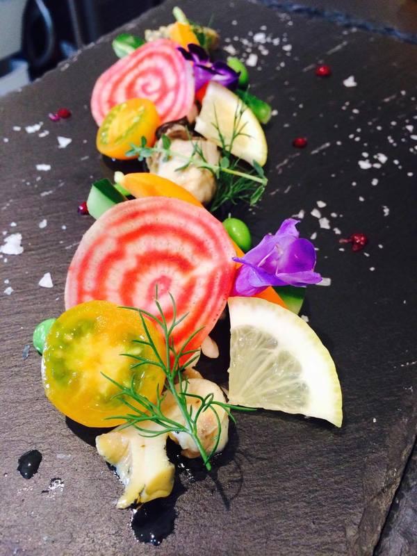 牡蠣のコンフィと野菜達