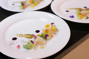 平貝と車海老のサラダ 味噌と肝のドレッシング