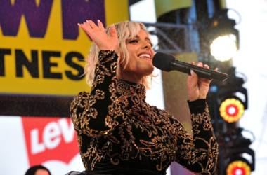 "Bebe Rexha performs on ""FOX'S New Years Eve with Steve Harvey: Live From Times Square"" on December 31, 2018 in New York City"
