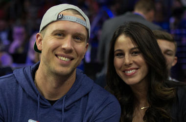 Jacksonville Jaguars QB Nick Foles sits alongside his wife, Tori.