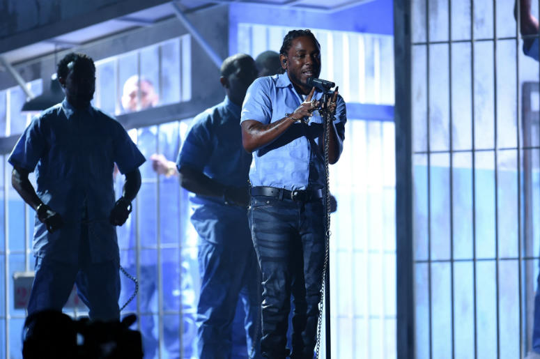 Kendrick Lamar performs during the 58th Grammy Awards.