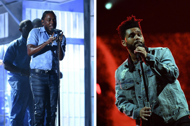 Kendrick Lamar performs during the 58th Grammy Awards at the Staples Center / The Weeknd performs at American Airlines Arena.