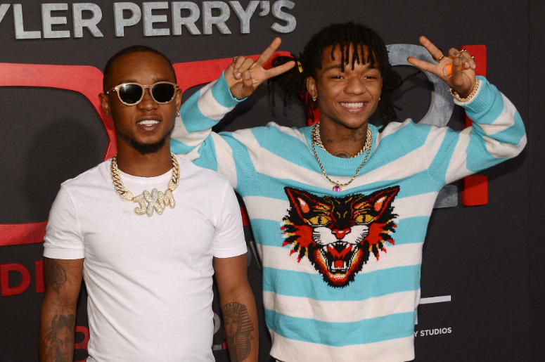 "SWAE LEE and SLIM JXMMI. ""Tyler Perry's Boo 2! A Madea Halloween"" Los Angeles Premiere held at Regal LA Live Stadium 14."