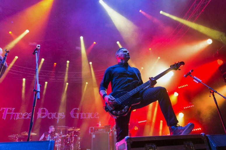 Popular Canadian post grunge rock band Three Days Grace and its bass guitarist Brad Walst performs at the Atlas Weekend Festival in National Expocenter.