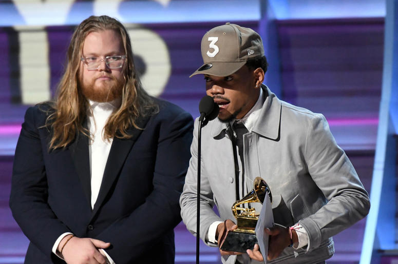 Feb 12, 2017; Los Angeles, CA, USA; Chance The Rapper accepts the Best Rap Album during the 59th Annual Grammy Awards at Staples Center.