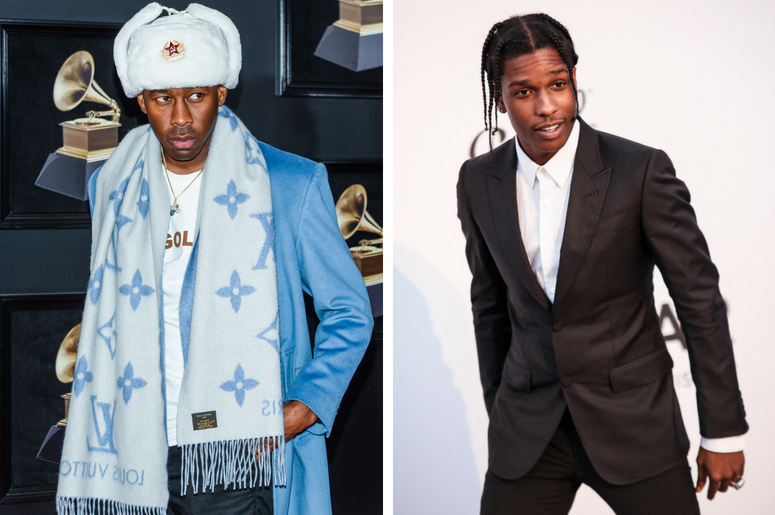 Tyler The Creator arrives at the 60th Annual GRAMMY Awards red carpet at Madison Square Garden in New York City, NY on January 28, 2018. / ASAP Rocky attends the amfAR Gala during the 2017 Cannes Film Festival on May 25, 2017 at Hôtel du Cap-Eden-Roc in C