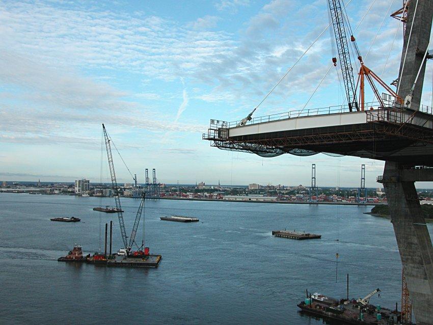 tug, crane, barge with  steel