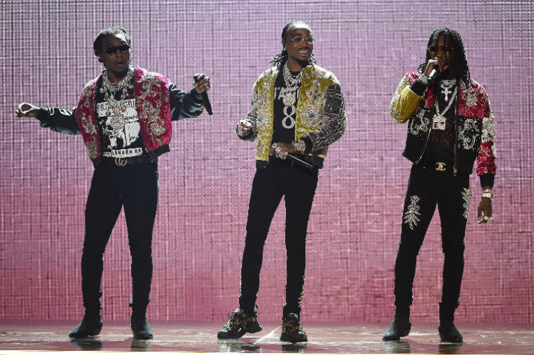 LOS ANGELES - JUNE 24: Migos perform on the 2018 BET Awards at the Microsoft Theater on June 24, 2018 in Los Angeles, California.